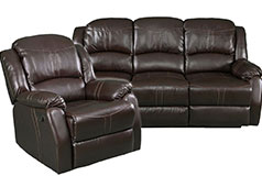 Lorraine Recliner Living Room Set Sofa, Chair Mocha Bonded Leather - Click for more details