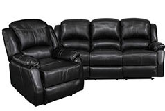 Lorraine Recliner Living Room Set Includes: Sofa & Chair Ebony Bonded Leather - Click for more details