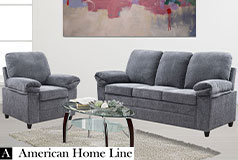 London Luxury Edition Living room set in gray chenille  Includes: Sofa and Chair  in Gray - Click for more details