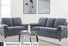 London Luxury Edition  Living Room Set in Gray Chenille  Includes: Sofa and Loveseat  - Click for more details
