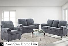 London Luxury Edition  Living Room Set in Gray Chenille  Includes: Sofa, Loveseat and Chair  - Click for more details