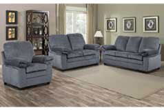 London Living Room Set  In gray chenille  Includes: Sofa, Loveseat & Chair - Click for more details