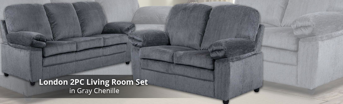 London Living Room Set S/L - Grey Chenille
