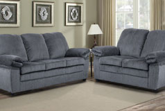 London Living Room Set in Gray Chenille  Includes: Sofa & Loveseat - Click for more details