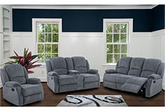 Crawford Recliner Livingroom Set in Gray Chenille Includes: Sofa, Loveseat, Chair - Click for more details