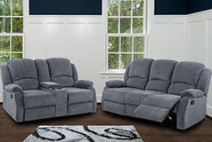 Crawford Recliner Set in Gray  Includes: Sofa, Loveseat  - Click for more details