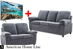 "London Luxury Edition Living Room Sofa & Loveseat set Gray & Samsung 55"" RU7100 4K TV - Click for more details"
