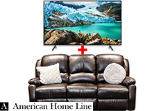 "Samsung 58"" Smart 4K TV & Lorraine Bel-Aire Reclining Sofa in Mocha Bundle - Click for more details"