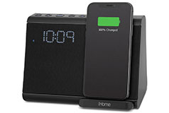 iHome Wireless Fast Qi Charging BT Dual Alarm Clockwith USB Charging