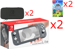 2 Nintendo Switch Lite Consoles in Gray, 2 Games & 2 Hori Tough Pouch Cases Bundle - Click for more details
