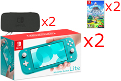 2 Nintendo Switch Lite Consoles in Turquoise, 2 Games & 2 Hori Tough Pouch Cases Bundle - Click for more details