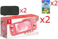 2 Nintendo Switch Lite Consoles in Coral, 2 Games & 2 Hori Tough Pouch Cases Bundle - Click for more details