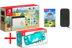 Nintendo Bundle of 4:Nintendo Switch Limited Edition,Turquoise Lite + Game, Carrying Case - Click for more details