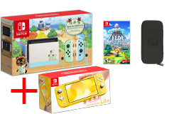 Nintendo Bundle of 4:Nintendo Switch Limited Edition, Yellow Lite + Game, Carrying Case - Click for more details