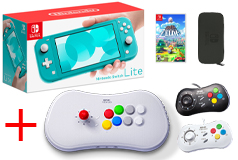 Nintendo Switch Lite Turquoise Bundle + SNK NeoGeo Arcade Stick Pro & 2 Pads - Click for more details