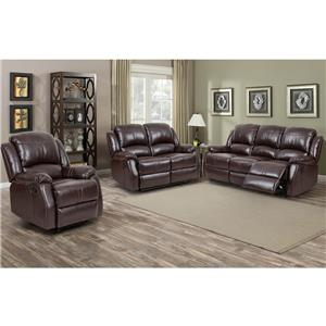 Lorraine Recliner 3pc Set Sofa, Loveseat, ChairBrown Bonded Leather