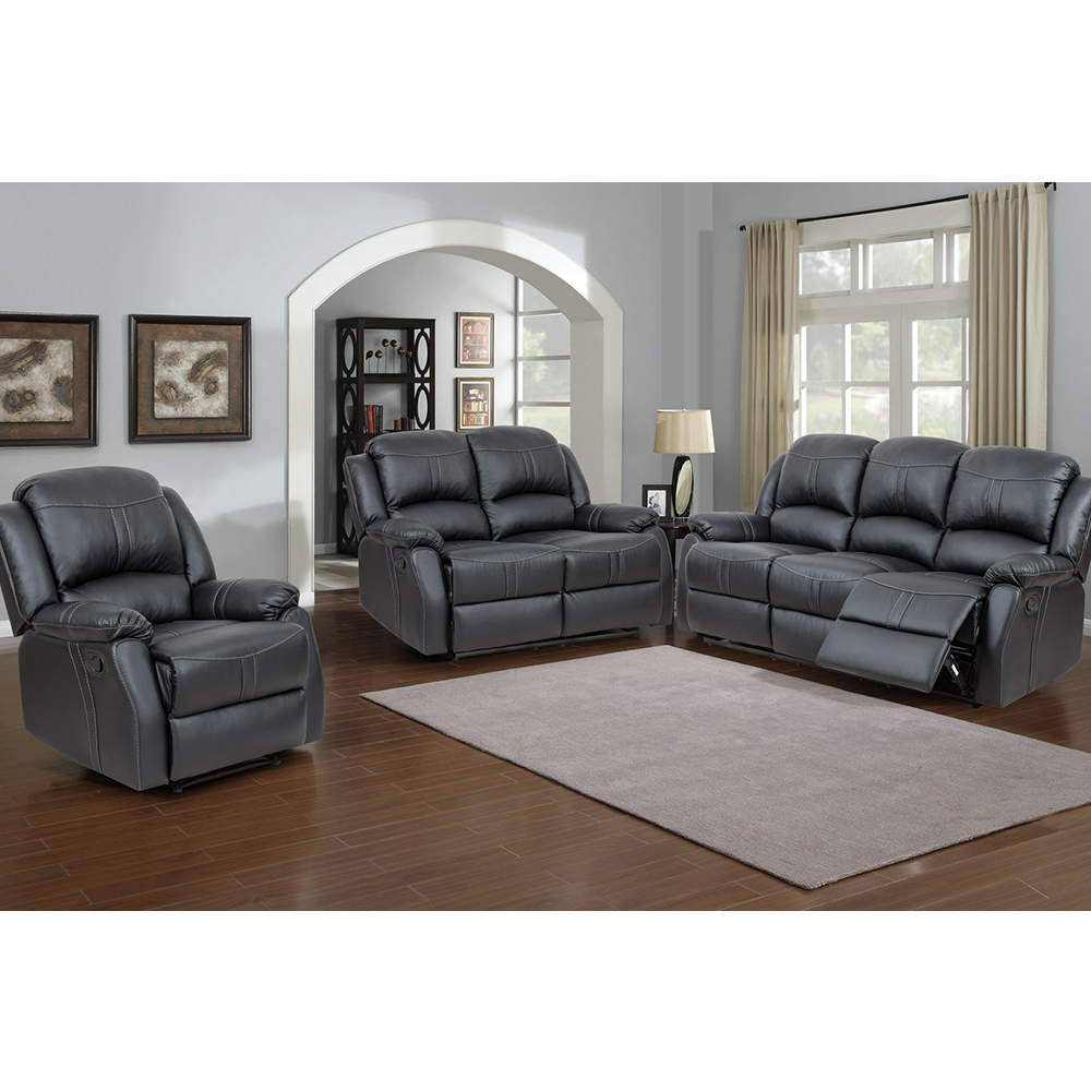Attractive Lorraine Recliner 3 Piece Set In Black Bonded Leather Sofa, Loveseat, Chair