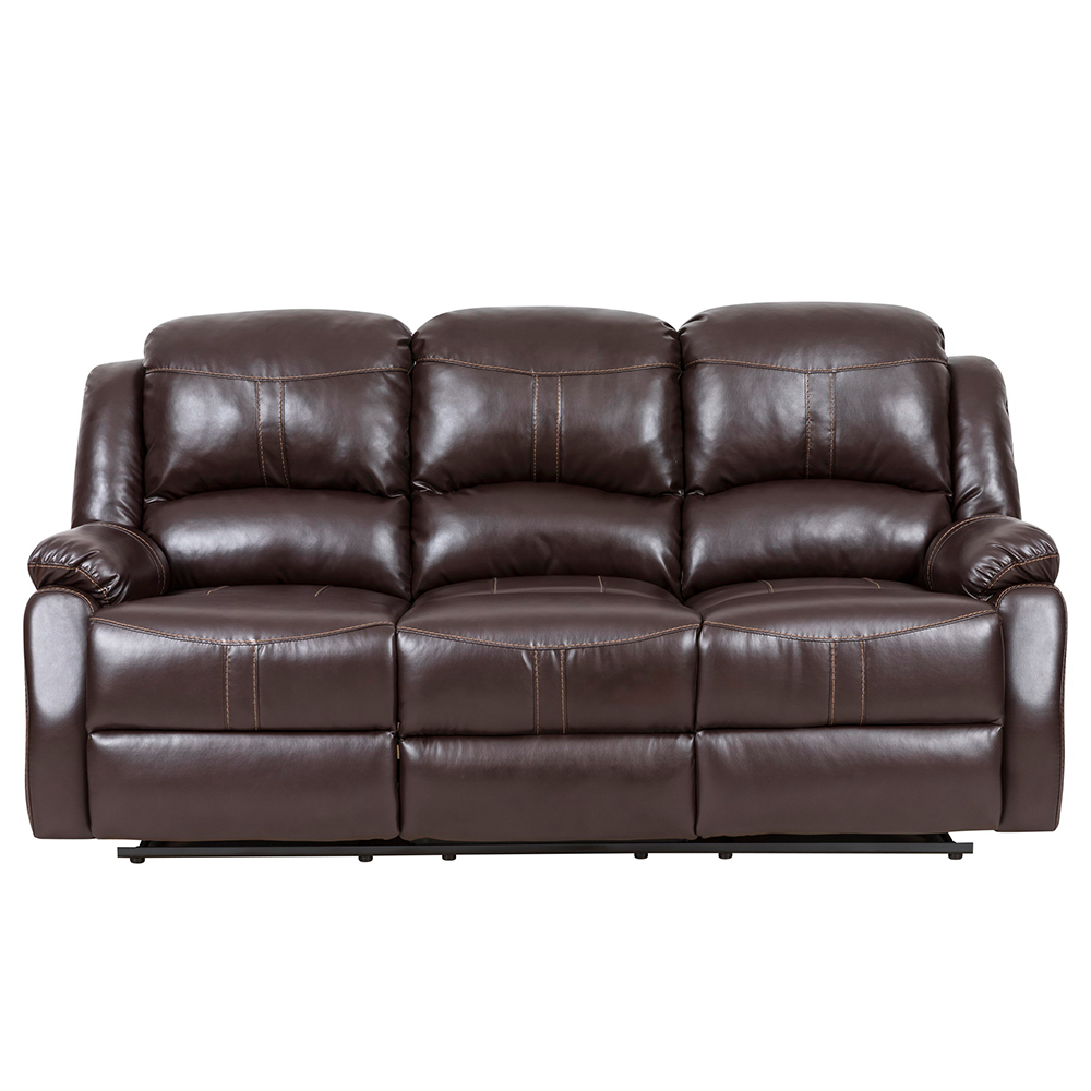 Lorraine Recliner Sofa And Loveseat Set In Brown Bonded Leather