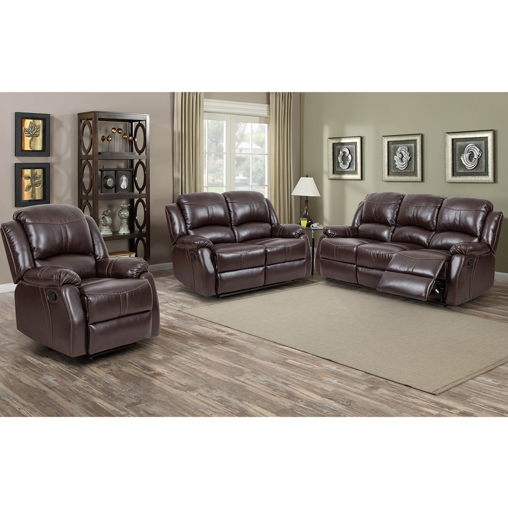 Lorraine Recliner 3pc Set Brown Bonded Leather