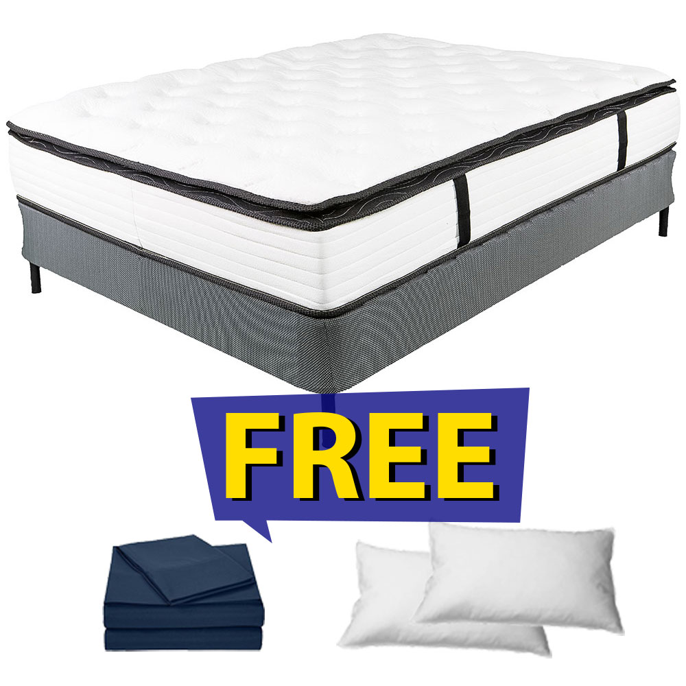 13 Pillow Top King Dreamflair Mattress Set Free Navy Sheets 2 Pillows
