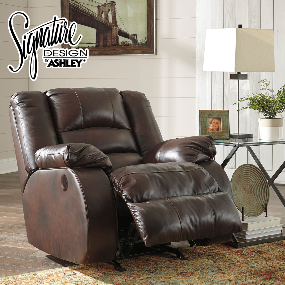 Levelland Rocker Recliner Chair in Genuine Leather     by Ashley