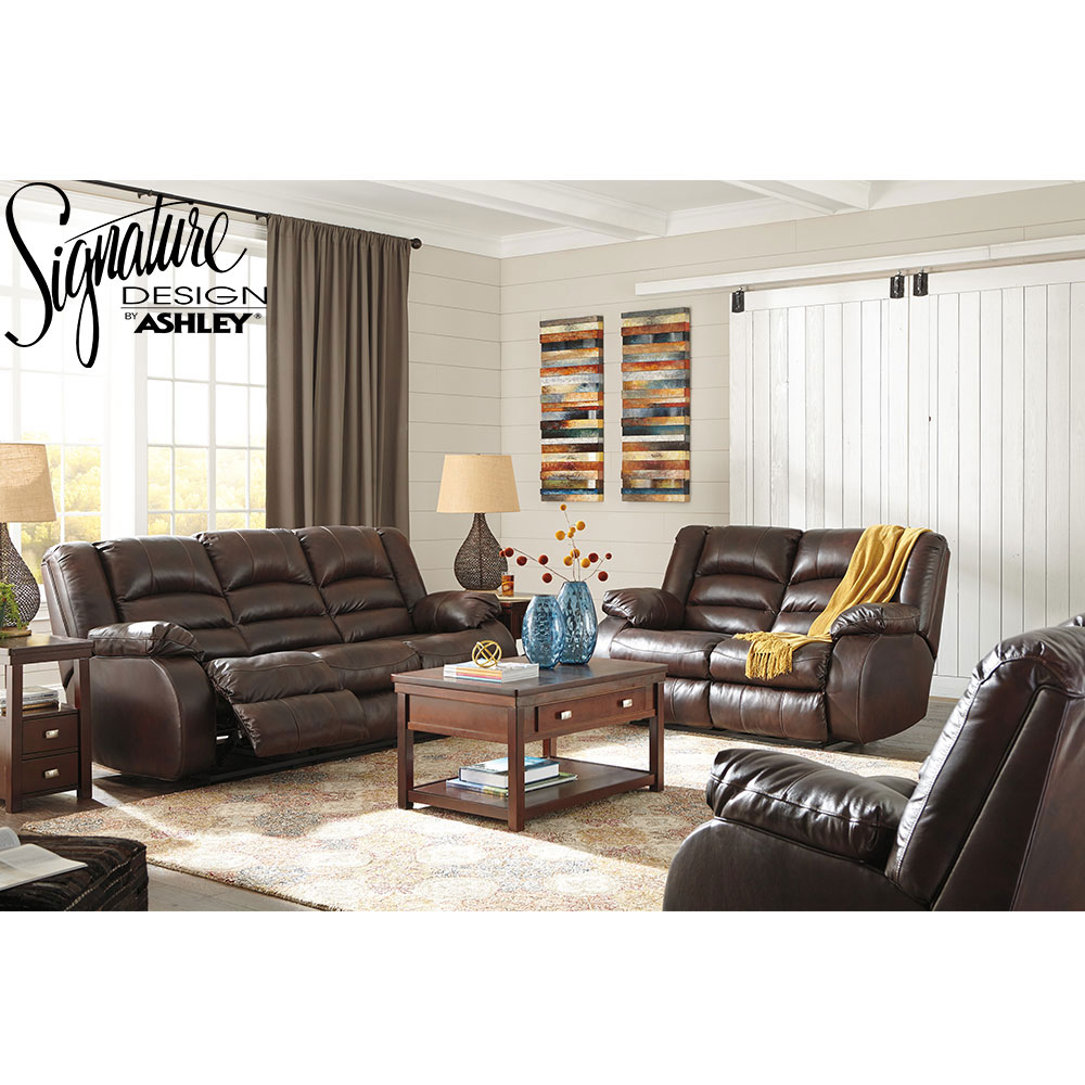 Ashley Levelland Reclining 3 Pc Set Includes: Sofa Loveseat & Chair in Genuine Leather by Ashley