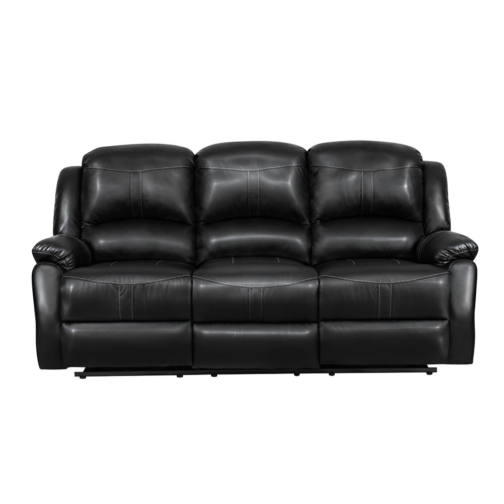 Lorraine Recliner Sofa in Black Bonded Leather
