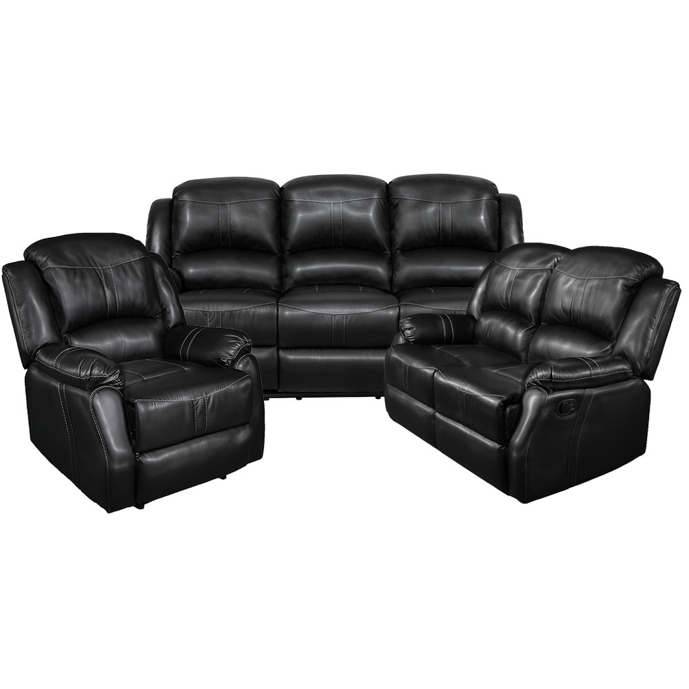Lorraine Recliner Living Room SetIncludes: Sofa, Loveseat & ChairBlack Bonded Leather