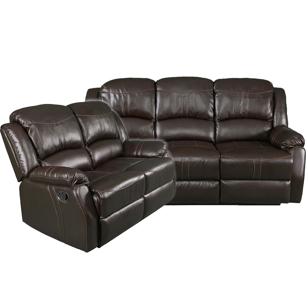 Lorraine Recliner Living Room Set  Sofa, Loveseat  Brown Bonded Leather