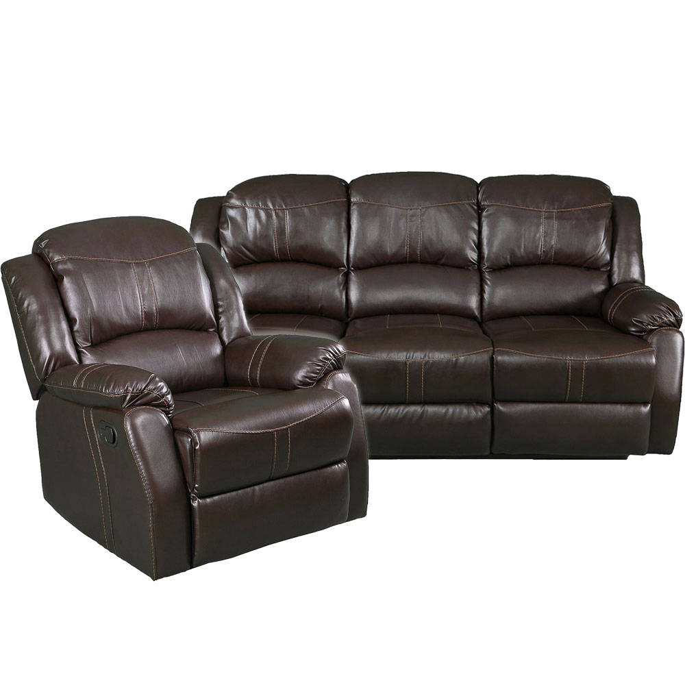 Lorraine Recliner Living Room Set  Sofa, Chair  Brown Bonded Leather
