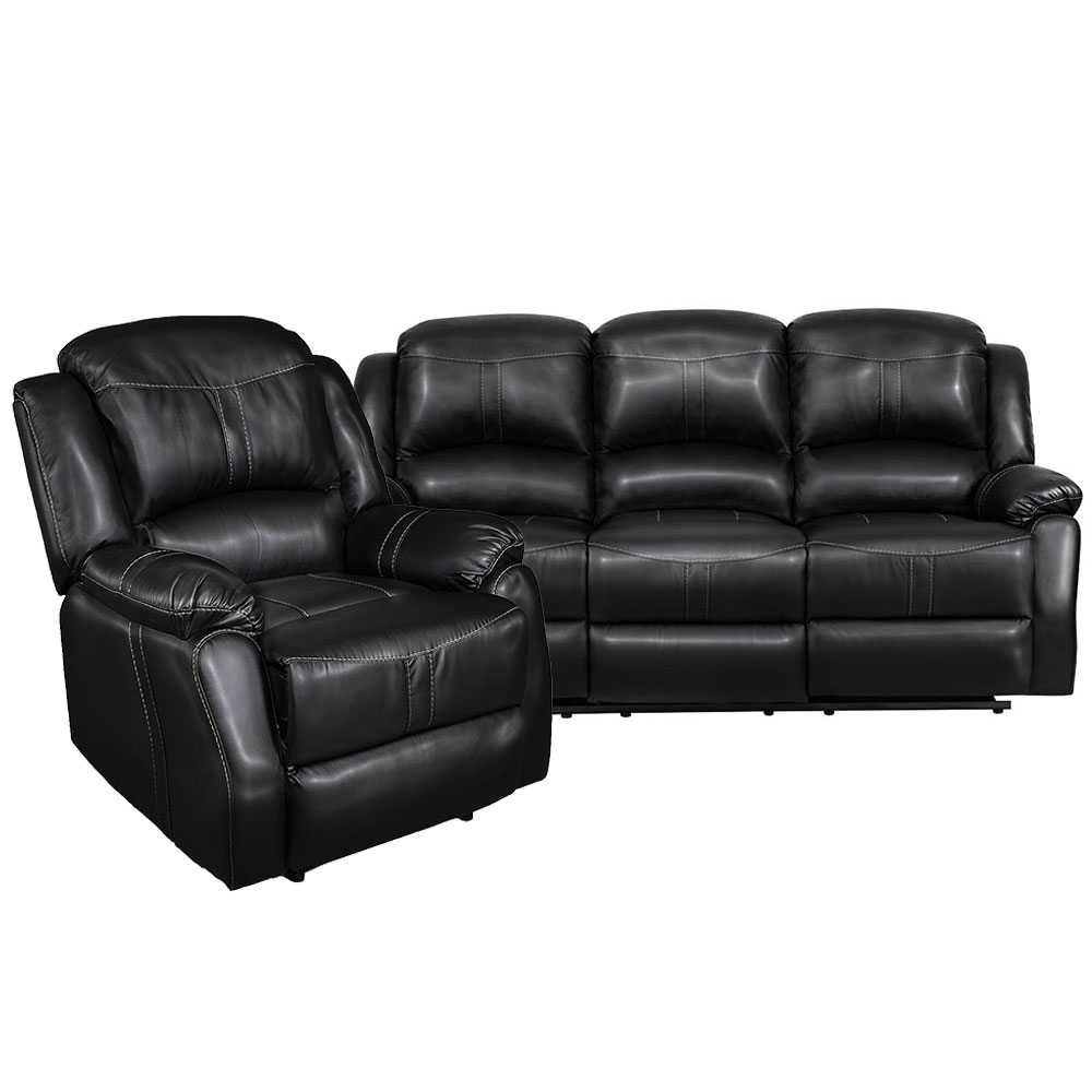 Lorraine Recliner Living Room Set Includes: Sofa & Chair Ebony Bonded Leather