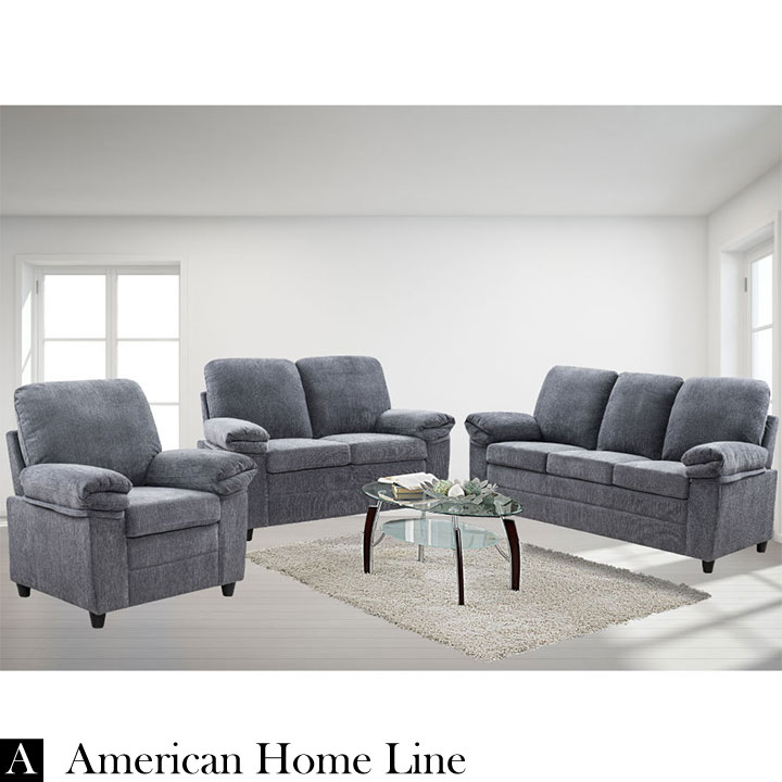 London luxury edition living room set in gray chenille includes sofa loveseat and chair