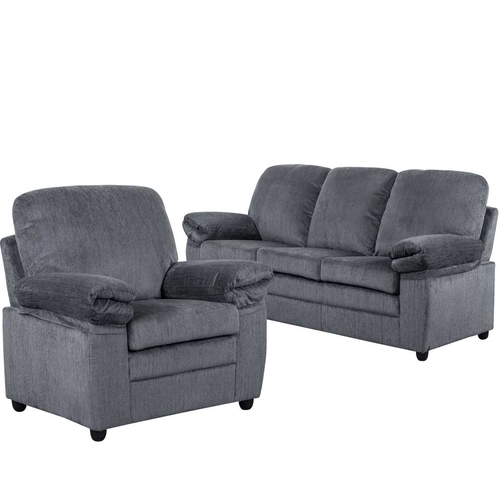 London Living Room Set in Gray Chenille  Includes: Sofa & Chair