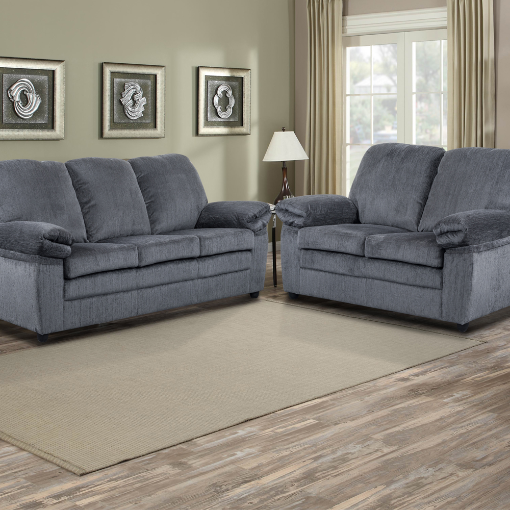 London Living Room Set in Gray Chenille  Includes: Sofa & Loveseat