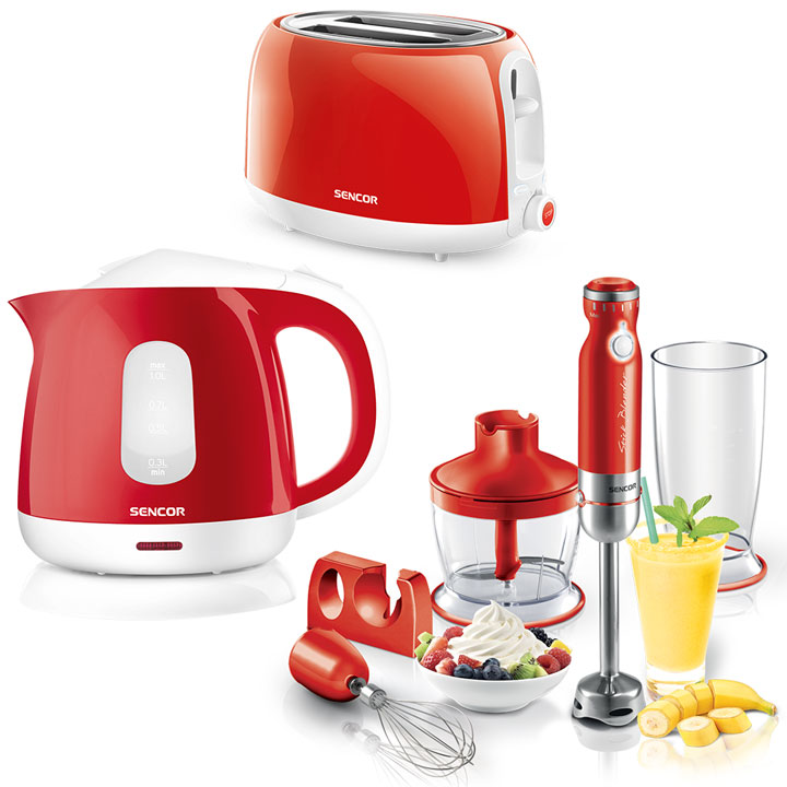 Kitchen Essentials - Sencor Toaster, Kettle and Hand Blender Bundle in Red