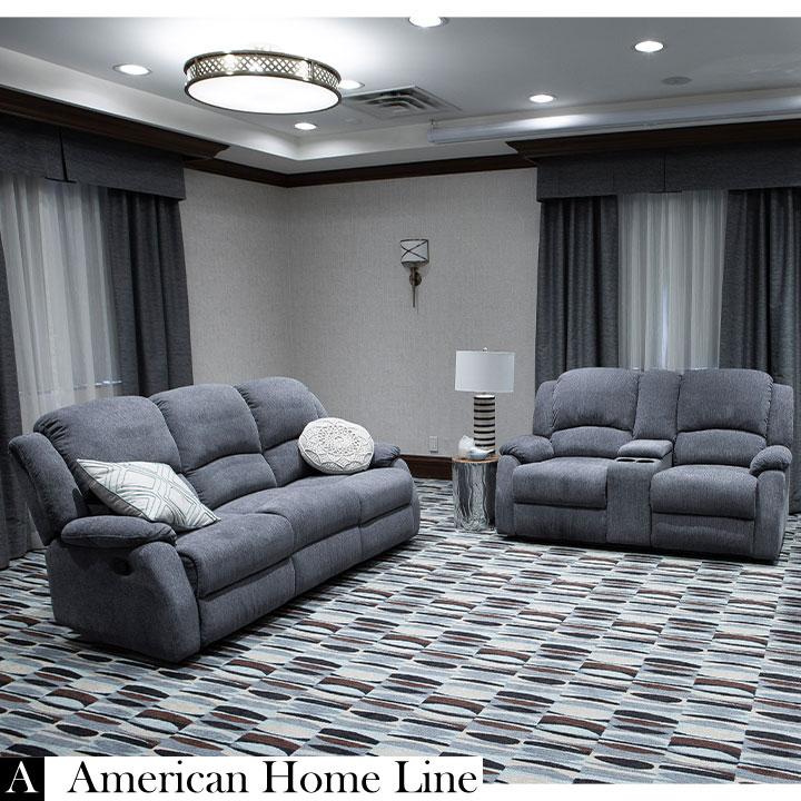 Crawford Luxury Recliner Set in Gray  Includes: Sofa, Loveseat