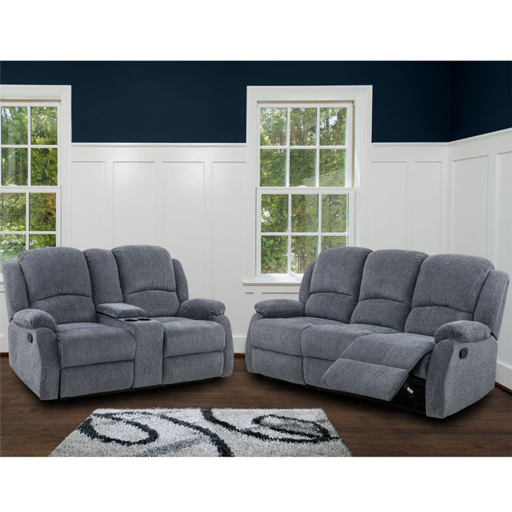 Crawford Recliner Set in Gray  Includes: Sofa, Loveseat