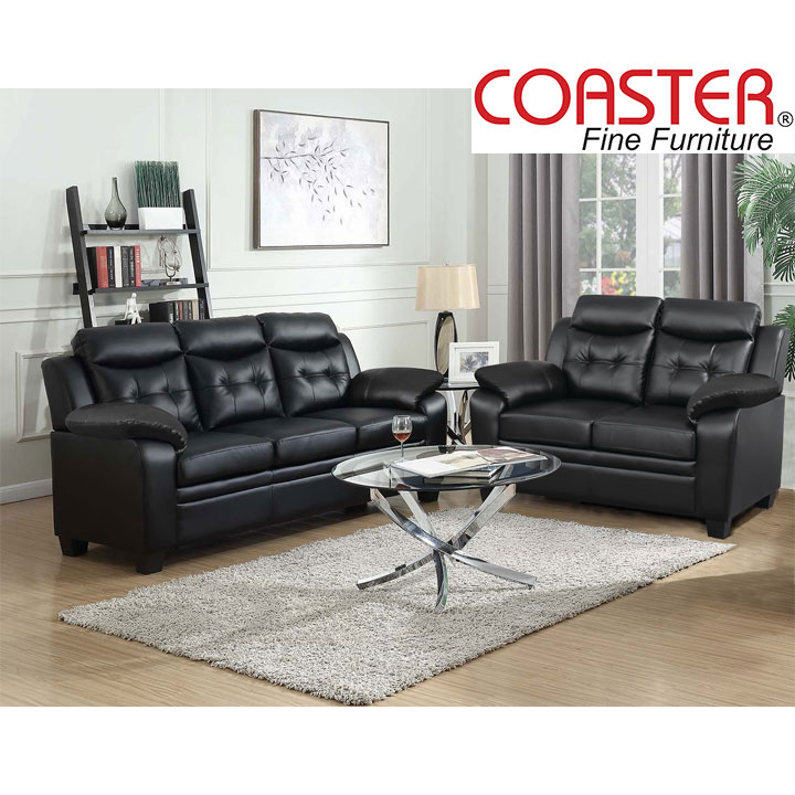 Finley Living Room Set Includes: Sofa, Loveseat Leatherette by Coaster