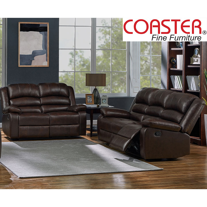 Denison Genuine Leather Reclining Living Room Set: Sofa, Love Seat