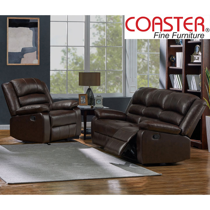 Denison Genuine Leather Reclining Living Room Set: Sofa, Chair