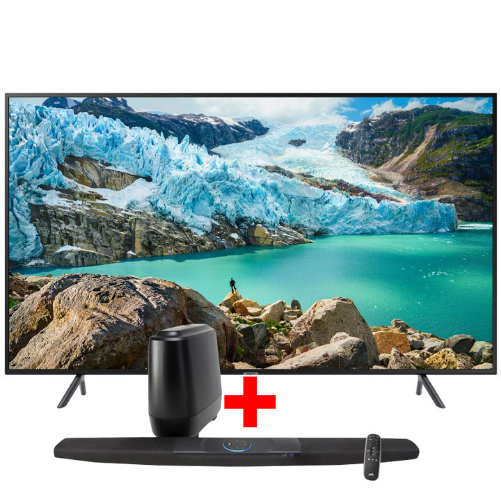 "Samsung 50"" 4K UHD RU7100 Smart TV & Polk Command Sound Bar Bundle"