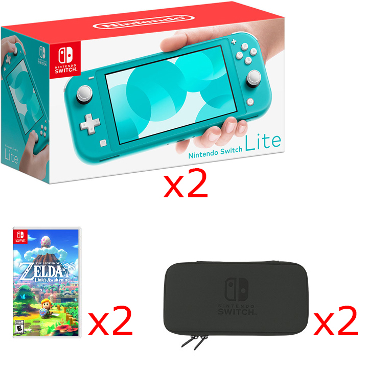 2 Nintendo Switch Lite Consoles in Turquoise, 2 Games & 2 Hori Tough Pouch Cases Bundle