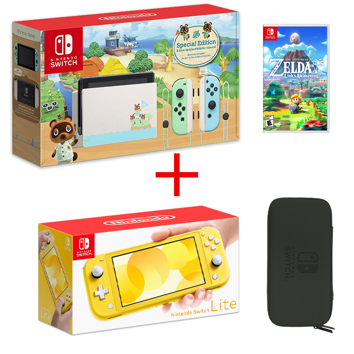 Nintendo Bundle of 4:Nintendo Switch Limited Edition, Yellow Lite + Game, Carrying Case