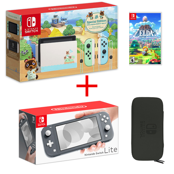Nintendo Switch Animal Crossing, Nintendo Lite Gray + Game & Case